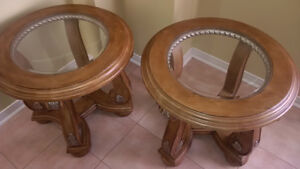 Round Glass Top Coffee, Sofa and End Tables