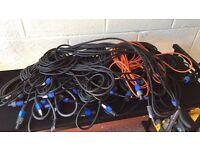 Mixed job lot of all sizes speakon to speakon dj disco speaker cables
