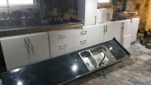 Galley kitchen $1000 - white/black, 6 lower cabinets, 2 upper