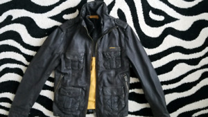 SUPERDRY BRAD LEATHER JACKET BROWN SZ: SMALL