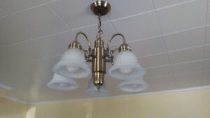 5 BULB GLASS CHANDELIER