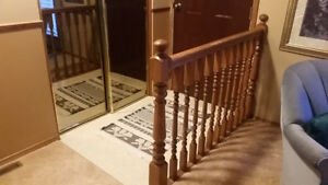 Banister railing & fireplace mantel