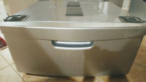 •	Laundry Pedestal with Storage Drawer - Stainless Platinum