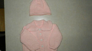 Hand knitted sweater and matching hat 6-12 months
