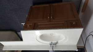 """36"""" vanity with marble counter top"""