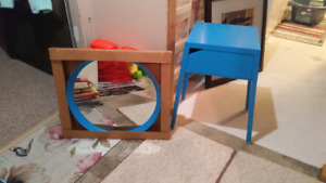 Blue ikea table + matching mirror ** excellent condition