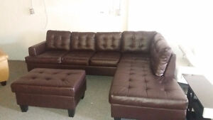Sectional sofa set - MYRNA brown faux leather