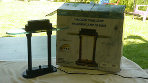 VINTAGE HALOGEN GLASS LIBRARY LAMP