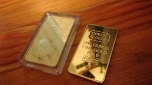CREDIT SUISSE 1oz 24ct Gold Plated Layered Bullion Bar Ingot