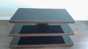 (New) Dark Tempered Glass & Wood TV Stand (3-Staggered Tiers)