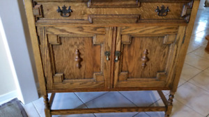 Solid Oak Antique sideboard jam cupboard for Sale
