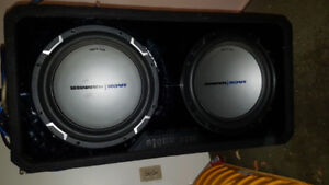 "Dual 12"" subwoofers in vented box, amplifier, and all wiring."