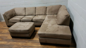 Free delivery: Oakdale microfibre sectional + ottoman