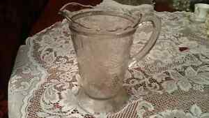 GLASS PITCHER WITH GRAPE PATTERN - VINTAGE EAPG