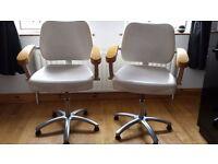 Cream Leather Salon Chairs