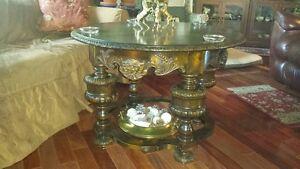 1910-Danish burled walnut round coffee table