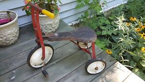 Antique Tricycle with wooden seat - great outdoor decor piece