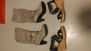 Size 9 womens boots and wedge heels $20