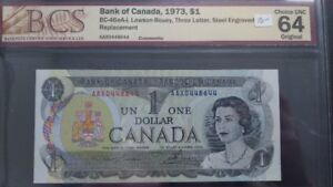 Canadian 1973  1 Dollar Bank Note