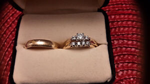 Size 7.5 Wedding Ring Set and Wedding Band