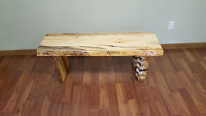 Slab live edge coffee table/entry bench