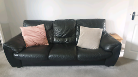 Dfs Black leather sofa & chair (free to collector)