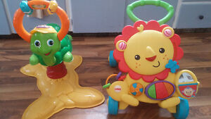 v tech bouncy turtle and fisher price lion walker