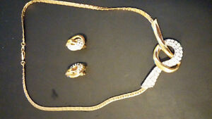Genuine Crystal necklace and clip-on earring set