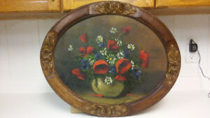 Antique French flowers oil painting