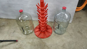 Two Glass Carboys & Bottle Dry and Storage Tree