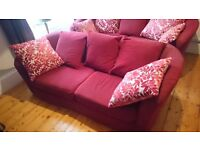 Instyle red 3 seater sofa + 1 seat swivel chair