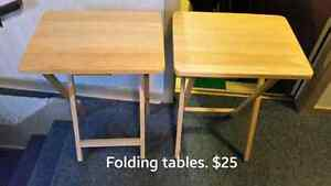 Various items for sale.   2 folding tables for eating or playing