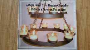 Indoor/Outdoor Hanging Antique 2 Tier Chandelier with Votives