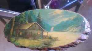 VINTAGE HAND PAINTED WOOD HANGING $25