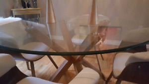 Wayfair Isaiah Glass Round Dining Table
