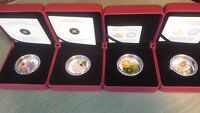 Lot of 7 Canadian Fine Silver Coins with Venetian Glass Element.