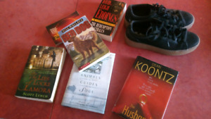 6 random books and size 8 shoes.