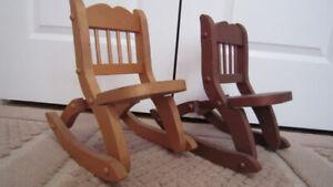 2 Wooden doll chairs ( 12'' to 18'' doll ) light and dark brow