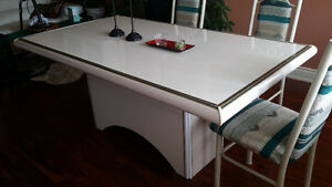 Off-White/Cream Dining Table and 6 Chairs - Leons London Ontario image 1