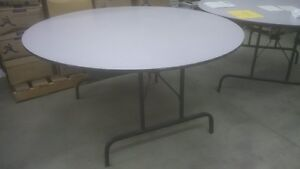 LARGE FIVE FOOT ACROSS FOLDING DINNING HALL TABLES, EXCELLENT CO