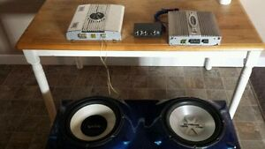 """Sub box w/ 2 x 12"""" subs / 2 Amps / 1 NAD Phono Preamp - $100 OBO"""
