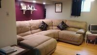 Leon's sectional sofa w/ recliner & chaise- $1200