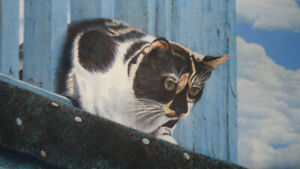 """Cat on a Hot Tin Roof"" painting, signd by G.E.S.1984"