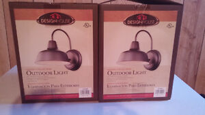 Two oil bronzed outdoor barn lights