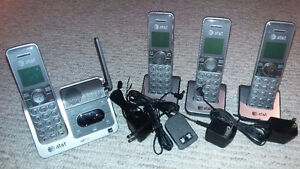4 Pack AT&T Cordless Phone Set with Caller ID & Answering System