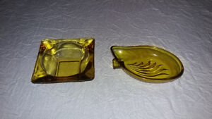 Mid-Century Modern Amber Glass Ashtrays