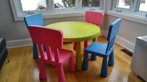 Table et 4 chaises pour enfants IKEA collection Mammut