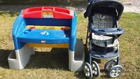 FREE little Tikes Desk & stroller at curb