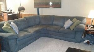 Grey/blue sectional couch