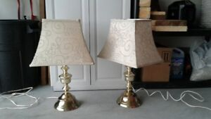 Gold lamps with fabric shades